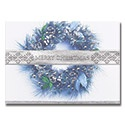 Blue Holiday Wreath Card