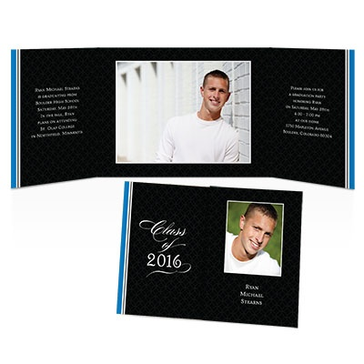 Simple Stripe Photo Graduation Invitation - Blue
